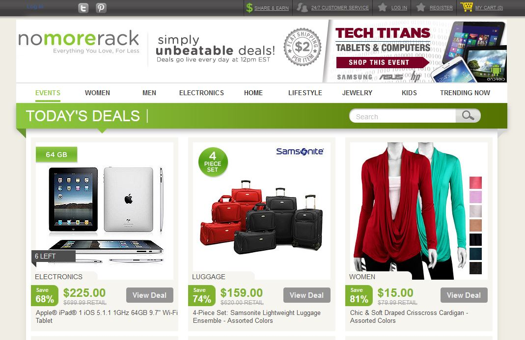23ba5dc8c1ba Elsőként a sorban harmadikat, a NoMoreRack.com webáruházat vesszük  szemügyre, mely a 2013-as évben 250 százalékkal haladta meg előző évi  árbevételét.